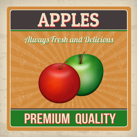 sign store: Apples vintage grunge retro poster, vector illustration