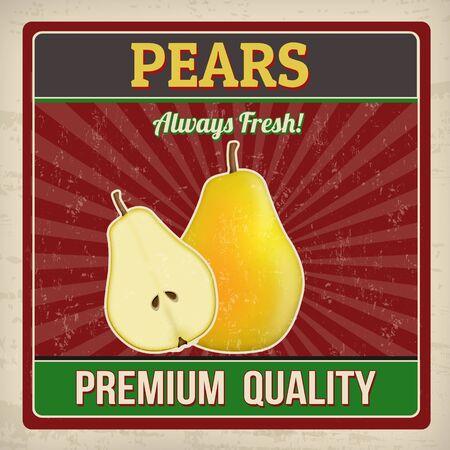 pears: Pears vintage grunge retro poster, vector illustration