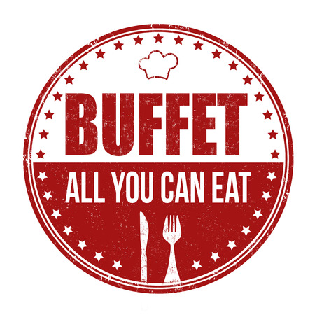 Buffet grunge rubber stempel op een witte achtergrond, vector illustratie Stock Illustratie