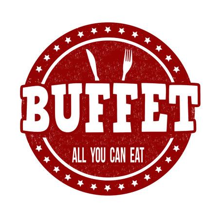 you can: Buffet grunge sello de goma en el fondo blanco, ilustración vectorial Vectores