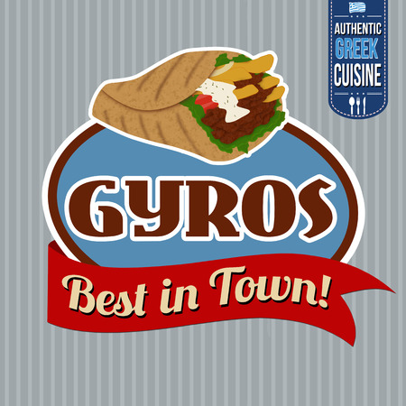 seasoned: Gyros sticker or label on vintage poster, vector illustration Illustration