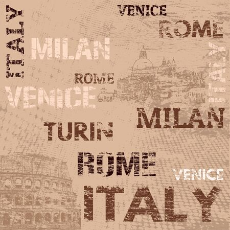 turin: Typographic poster design with Italy and city names Rome, Venice,Milan and Turin on grunge scratched background, vector illustration