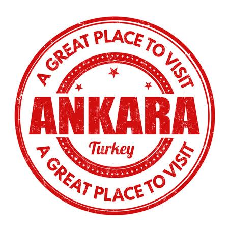 impress: Ankara grunge timbro di gomma su sfondo bianco, illustrazione vettoriale