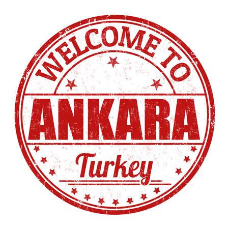 impress: Benvenuti a Ankara grunge timbro di gomma su sfondo bianco, illustrazione vettoriale