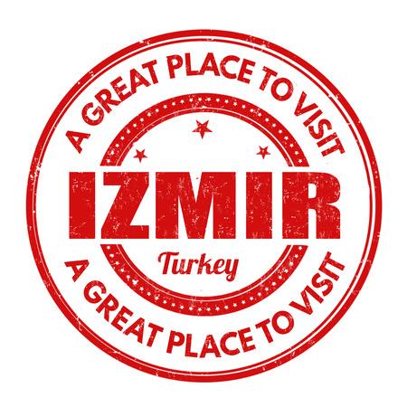 impress: Izmir grunge rubber stamp on white background, vector illustration Vettoriali