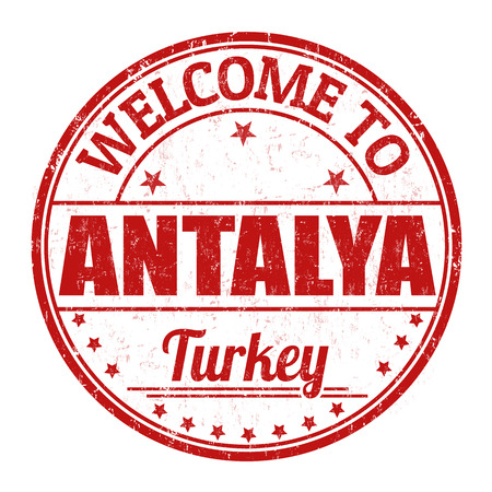 best travel destinations: Antalya grunge rubber stamp on white background, vector illustration