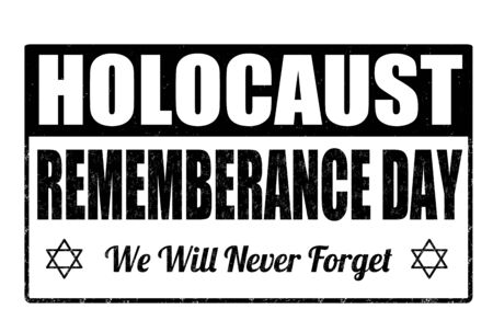 holocaust: Jewish Yom HaShoah Remembrance Day grunge rubber stamp on white background, vector illustration
