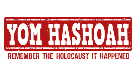 remembrance day: Ebraico Yom HaShoah Remembrance Day grunge timbro di gomma su sfondo bianco, illustrazione vettoriale Vettoriali