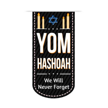 genocide: Jewish Yom HaShoah banner design over a white background, vector illustration