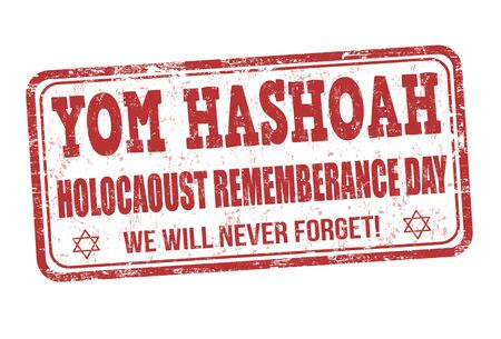 remembrance day: Jewish Yom HaShoah Remembrance Day grunge rubber stamp on white background, vector illustration