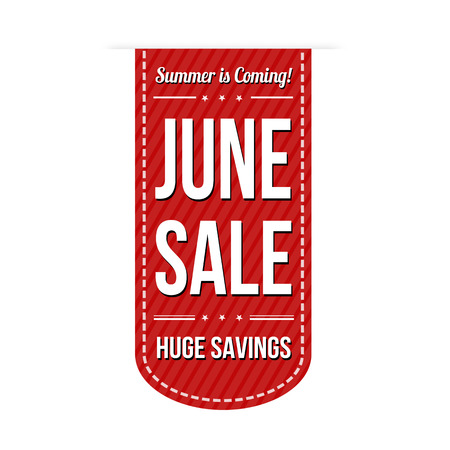 advertised: June sale banner design over a white background, vector illustration Illustration