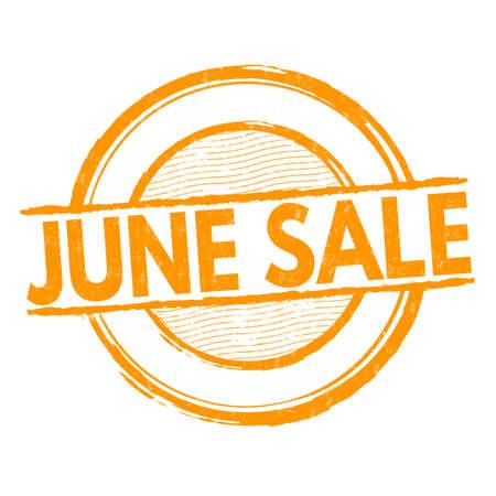 advertised: June sale grunge rubber stamp on white, vector illustration