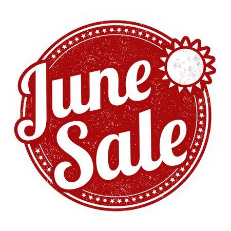 june: June sale grunge rubber stamp on white, vector illustration