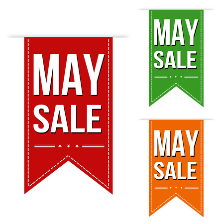 advertised: May sale banners design over a white background, vector illustration