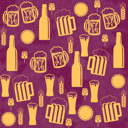 lila: Beer seamless pattern on lila background, vector illustration