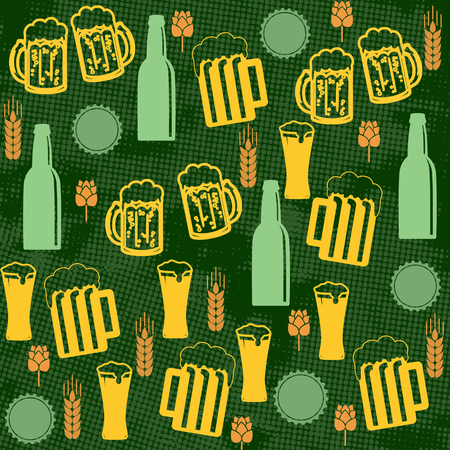 Beer seamless pattern on green background, vector illustration Vector