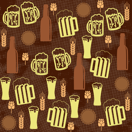 bottle cap opener: Beer seamless pattern on brown background, vector illustration Illustration