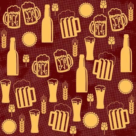 bottle cap opener: Beer seamless pattern on red background, vector illustration Illustration
