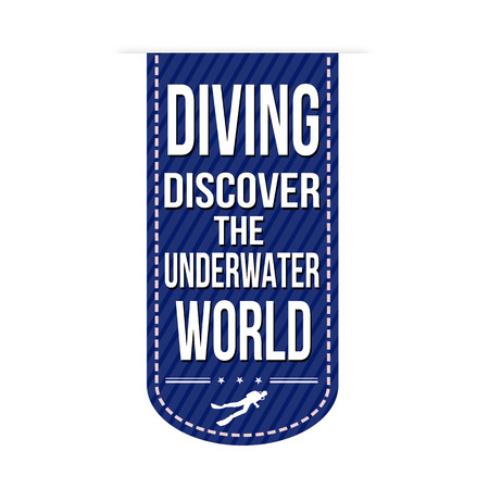 deepsea: Diving banner design over a white background