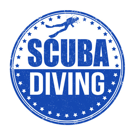 scuba diving: Duiken grunge rubber stempel op een witte achtergrond
