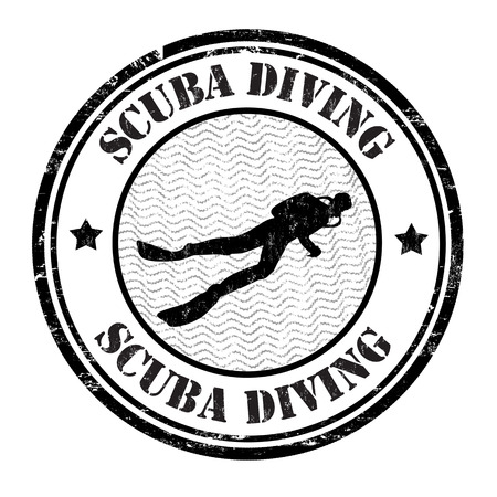 Scuba diving grunge rubber stamp on white background