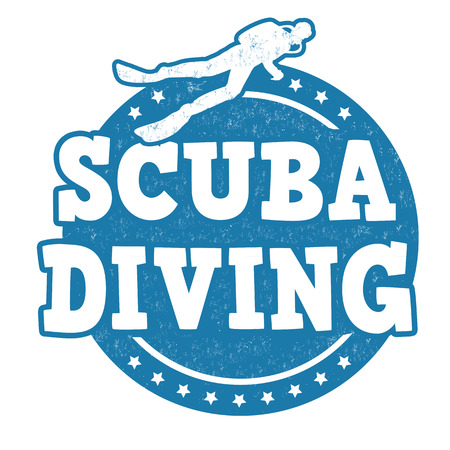 diving: Scuba diving grunge rubber stamp on white background, vector illustration