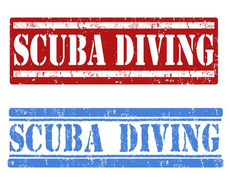 scuba diving: Duiken grunge rubber stempel op een witte achtergrond, vector illustratie Stock Illustratie