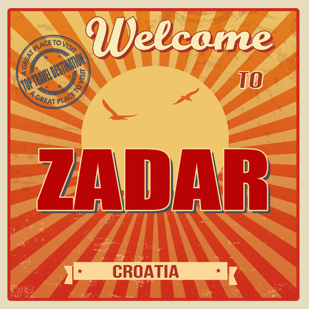 Vintage Touristic Welcome Card - Zadar, Croatia illustration Vector