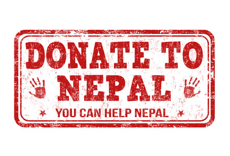 devastating: Donate to Nepal grunge rubber stamp on white background