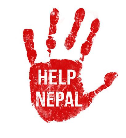 Grunge ink hand with message Help Nepal on white background