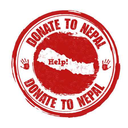 disaster relief: Donate to Nepal grunge rubber stamp on white background illustration