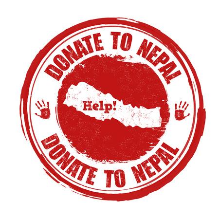 devastating: Donate to Nepal grunge rubber stamp on white background illustration