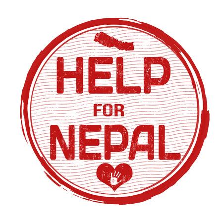 devastating: Help Nepal grunge rubber stamp on white background Illustration