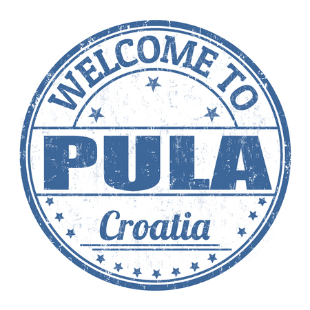 Welcome to Pula grunge rubber stamp on white background