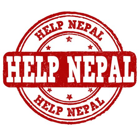 disaster relief: Help Nepal grunge rubber stamp on white background Illustration