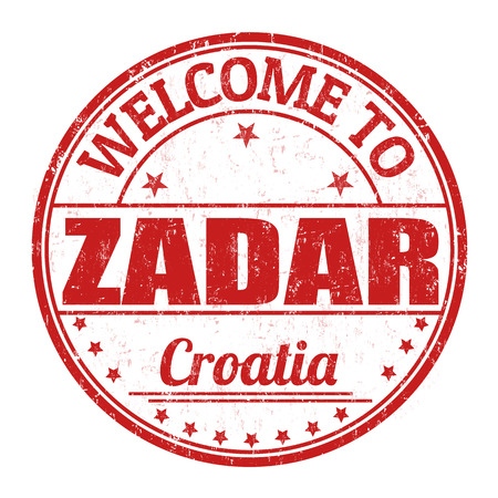 Welcome to Zadar grunge rubber stamp on white background
