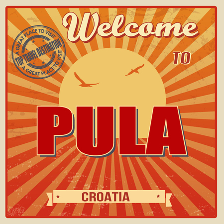 Vintage Touristic Welcome Card - Pula, Croatia illustration Ilustração