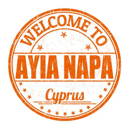 impress: Benvenuti a Ayia Napa grunge timbro di gomma su sfondo bianco, illustrazione vettoriale