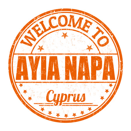 napa: Welcome to Ayia Napa grunge rubber stamp on white background, vector illustration Illustration
