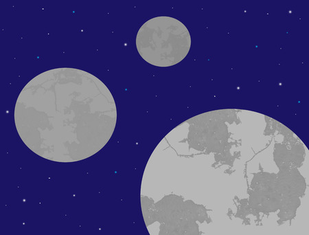 Space with three planets, vector illustration Vector