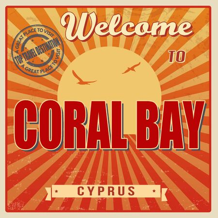 Vintage Touristic Welcome Card - Coral Bay, Cyprus, vector illustration Vector