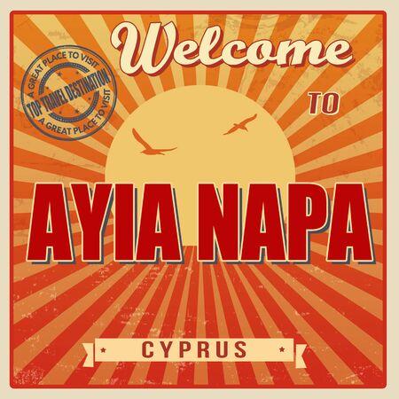 napa: Vintage Touristic Welcome Card - Ayia Napa, Cyprus, vector illustration