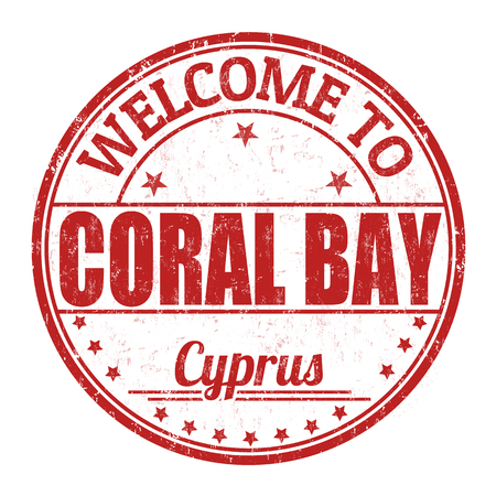 best travel destinations: Welcome to Coral Bay grunge rubber stamp on white background, vector illustration Illustration