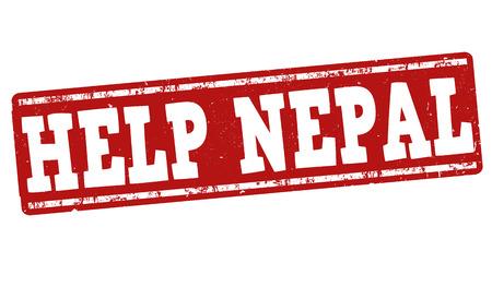 devastating: Help Nepal grunge rubber stamp on white background, vector illustration