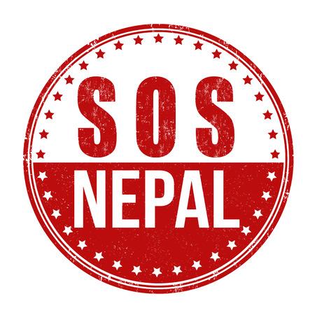 devastating: SOS Nepal grunge rubber stamp on white background, vector illustration Illustration