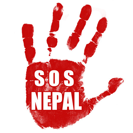 SOS Nepal grunge rubber stamp on white background, vector illustration Vector