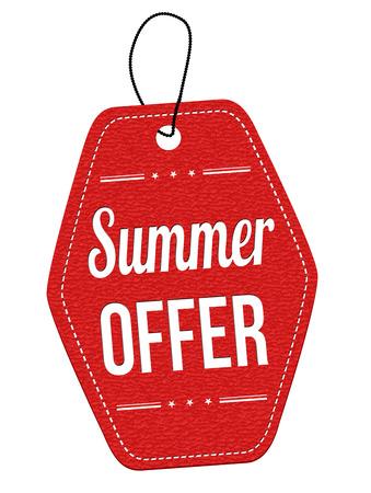 夏天提供红色皮革标签或在白色背景,传染媒介例证的价格标记