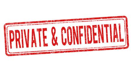 Rubber stamp grunge privées et confidentielles sur blanc, illustration vectorielle Vecteurs