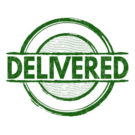 delivered: Delivered grunge rubber stamp on white, vector illustration