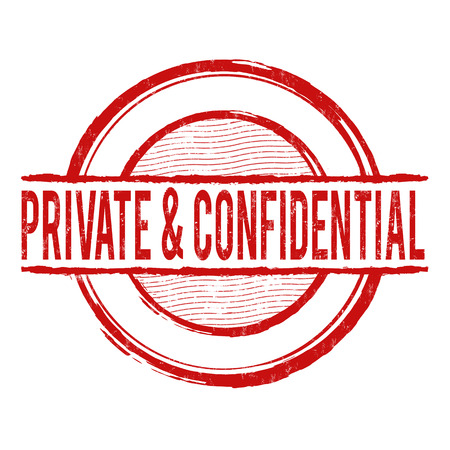 Private and confidential grunge rubber stamp on white, vector illustration Illustration